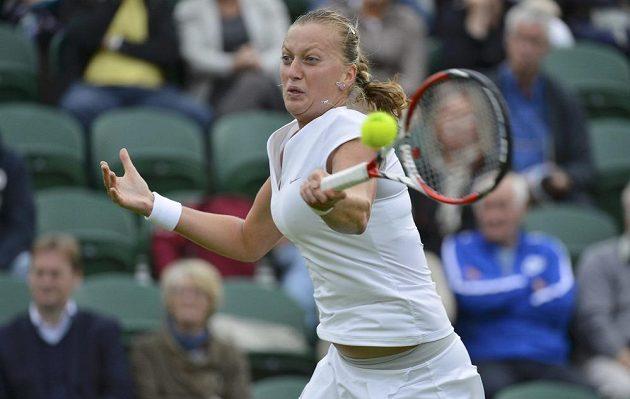 Petra Kvitová v utkání 1. kola Wimbledonu.