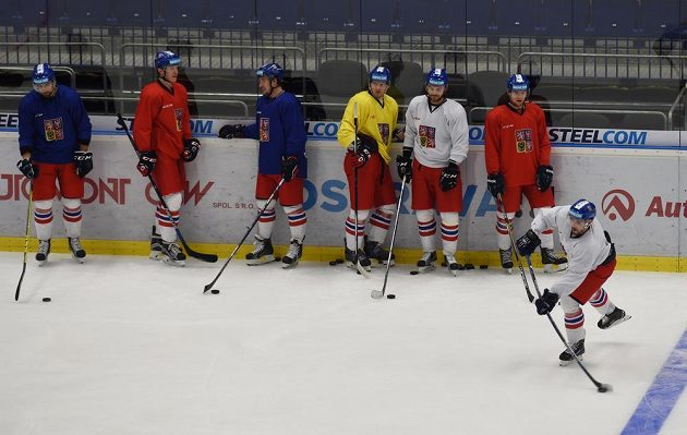 Zleva Lukáš Krenželok, Lukáš Radil, Jan Kovář, Jan Buchtele, Robert Kousal, Jakub Jeřábek a Michal Birner.