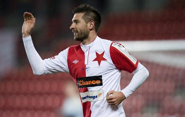 Obránce Slavie Praha Michal Smejkal se raduje z vedoucího gólu sešívaných.