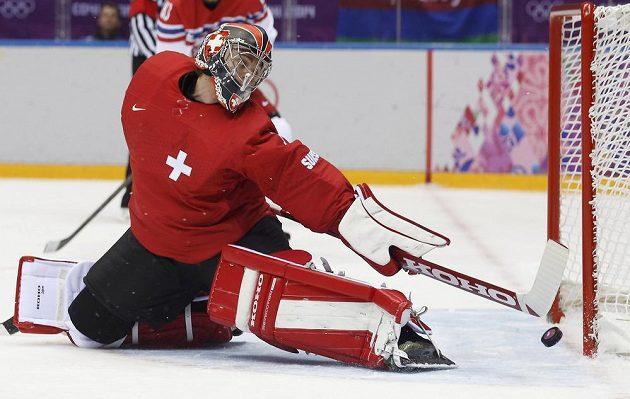 Švýcarský brankář Jonas Hiller zasahuje v utkání s Českou republikou.