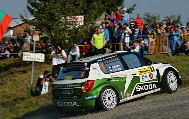Jan Kopecký se Škodou Fabia S2000 na trati Barum rallye 2013.