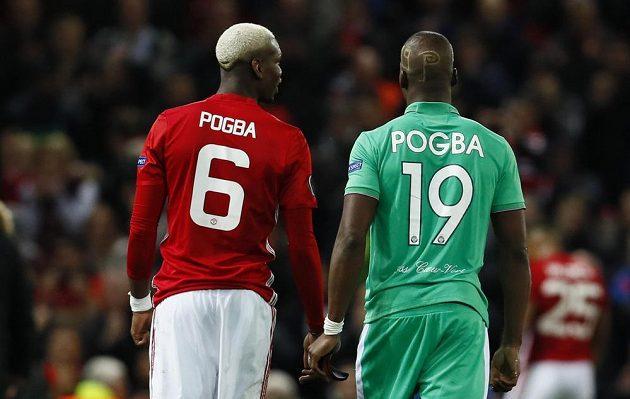 Paul Pogba Manchester United a Florentyn Pogba St. Etienne během utkání Evropské ligy na Old Trafford.