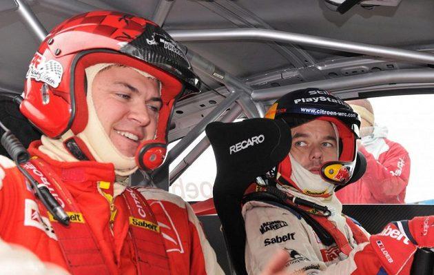 Sébastien Loeb při návštěvě Česka. V Sosnové před čtyřmi lety s Martinem Prokopem na místě spolujezdce.