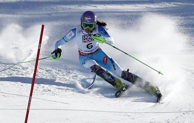 Šárka Strachová během druhého kola slalomu na MS v Beaver Creeku.