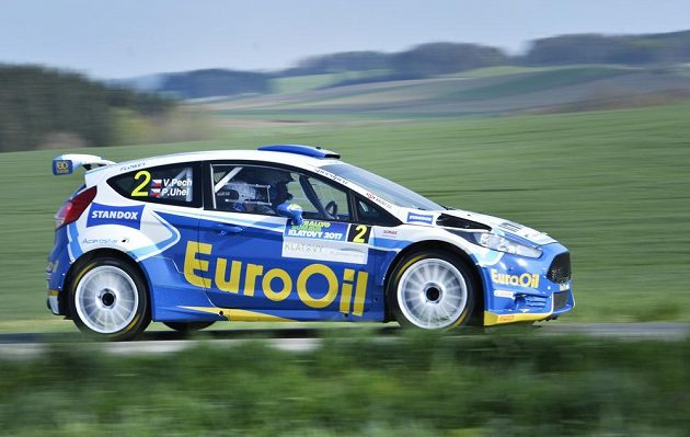 Václav Pech a Petr Uhel na voze Ford Fiesta R5 při Rallye Šumava.