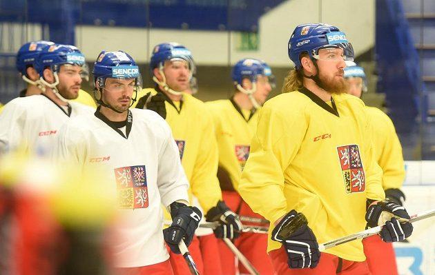 Lukáš Kašpar (vpravo) a jeho spoluhráči se chystají na duel s Ruskem.