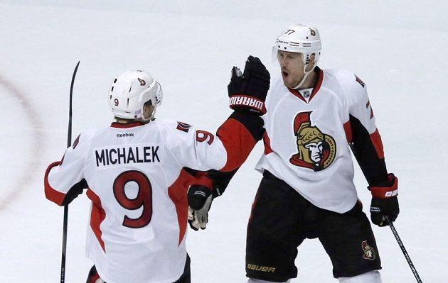 Útočník Ottawy Milan Michálek se raduje z gólu do sítě Chicaga.