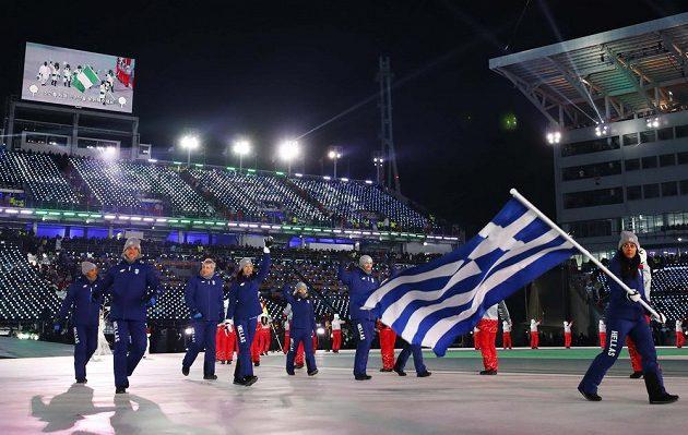 Slavnostní zahájení olympjských her v Jižní Koreji, jako první přišli Řekové.