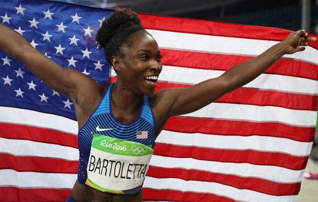 Tianna Bartolettová, americká olympijská vítězka v dálce.