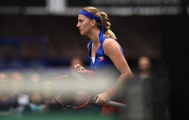 Petra Kvitová ve vítězném utkání s Francouzkou Garciaovou.