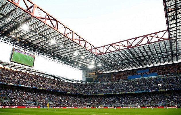 Slavné San Siro, na kterém Slavia vstoupila do Ligy mistrů zápasem s Interem Milán