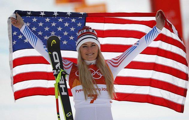 Bronzová medailistka ze sjezdu - Američanka Lindsey Vonnová.