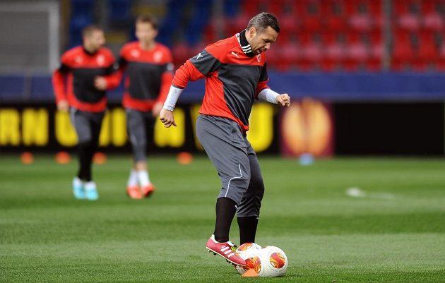 Plzeňský záložník Pavel Horváth na středečním předzápasovém tréninku před odvetným osmifinálovým duelem Evropské ligy s Lyonem.