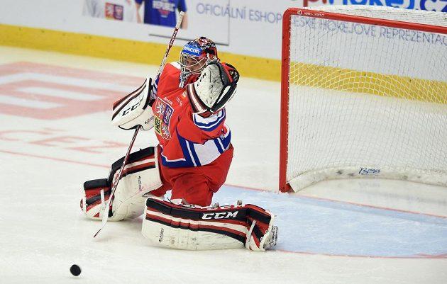 Brankář české reprezentace Jakub Kovář během utkání Euro Hockey Challenge s Norskem.