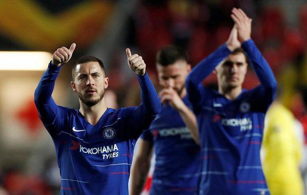 Eden Hazard slaví vítězství Chelsea nad Slavií