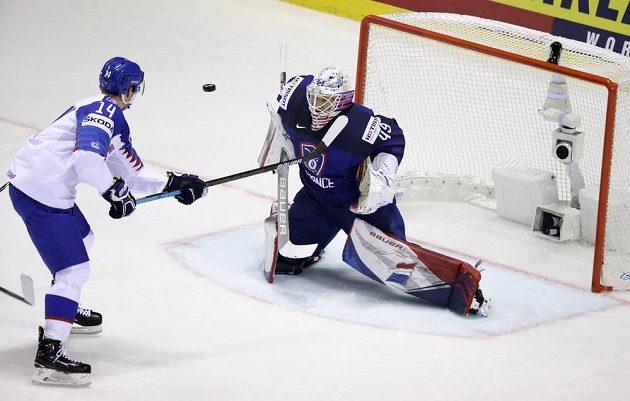 Francouzský brankář Florian Hardy likviduje šanci Richarda Pánika v utkání hokejového mistrovství světa.