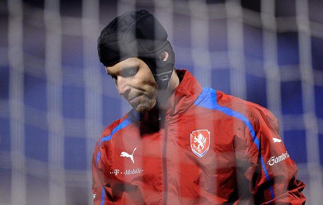 Brankář Petr Čech během tréninku české fotbalové reprezentace před přátelským utkáním s Kanadou.