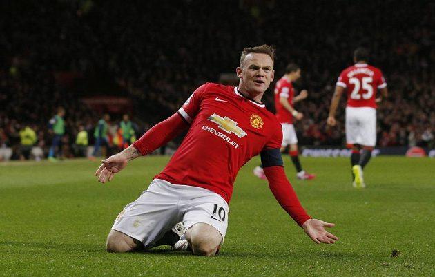 Útočník Manchesteru United Wayne Rooney se raduje z branky, kterou vstřelil Arsenalu ve čtvrtfinále FA Cupu.