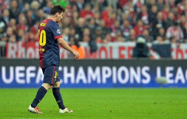 Barcelonský Lionel Messi během utkání s Bayernem.