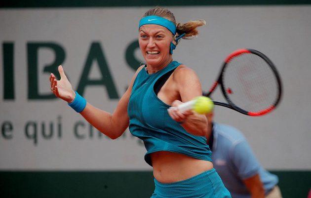 Petra Kvitová během zápasu 2. kola French Open.