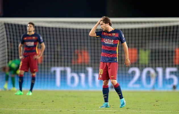 Reakce záložníka Barcelony Sergiho Roberta po vyrovnávacím gólu Sevilly.
