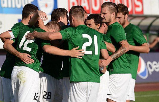 Fotbalisté Jablonce se radují z vítězného gólu proti Strömsgodsetu.