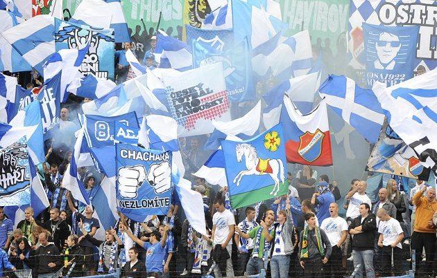 Fanoušci Baníku v utkání 9. kola Gambrinus ligy mezi Ostravou a Libercem.