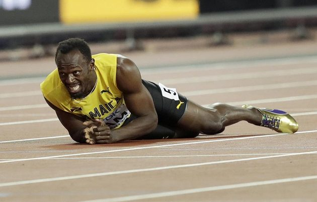Jamajčan Usain Bolt ve finále štafety 4x100 m.