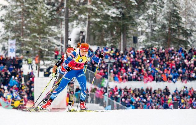 Gabriela Soukalová na trati v Holmenkollenu, dějišti mistrovství světa.
