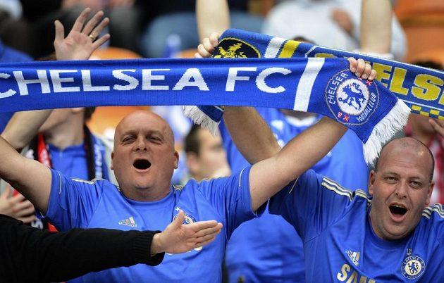 Fanoušci Chelsea při finále Evropské ligy v Amsterdamu.