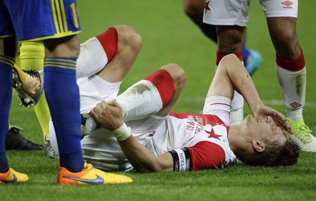 Slávistický kanonýr Milan Škoda schytal v odvetě s Borisovem spoustu ran, jeho gól však přinesl pražskému týmu postup.