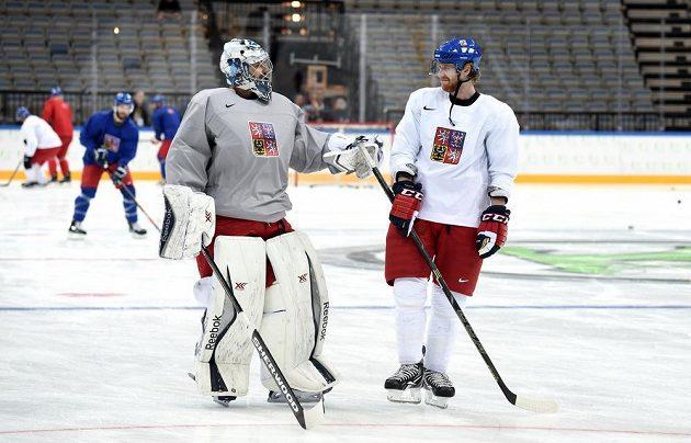 Brankář Ondřej Pavelec a útočník Jakub Voráček během tréninku české hokejové reprezentace v pražské O2 areně.
