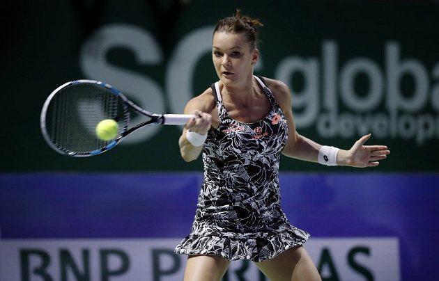 Polská tenistka Agnieszka Radwaňská během utkání s Karolínou Plíškovou.