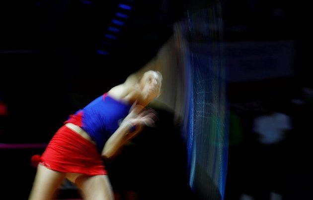 Karolína Plíšková během druhé dvouhry fedcupového semifinále proti Německu.