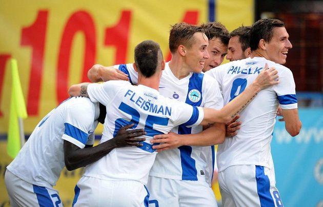 Fotbalisté Liberce se radují z gólu proti Udine.