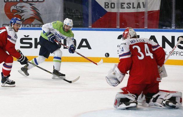 Střelu Bostjana Goličiče český brankář Petr Mrázek za svá záda nepustil.