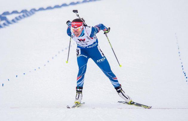 Česká biatlonistka Veronika Vítková v cíli vytrvalostního závodu na MS v Oslu.