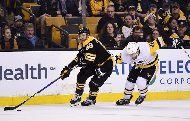 David Pastrňák (88) z Bostonu a Bryan Rust (17) z Pittsburghu.