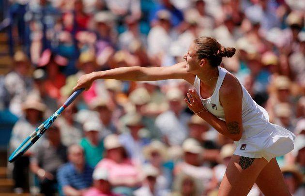 Karolína Plíšková při finále s Angelique Kerberovou z Německa.