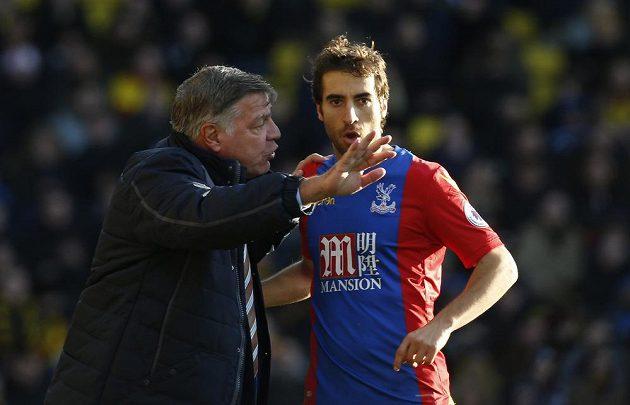 Nový kouč fotbalistů Crystal Palace Sam Allardyce udílí pokyny Mathieumu Flaminimu.