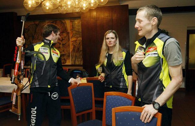 Čeští Michal Šlesingr, Gabriela Soukalová, Ondřej Moravec při setkání s novináři v Novém městě na Moravě během MS.