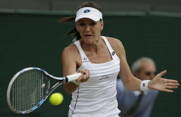 Polka Agnieszka Radwaňská ve čtvrtfinále Wimbledonu.