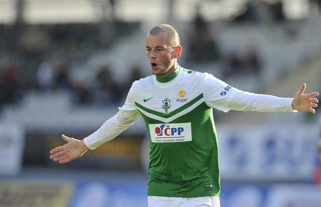 Jablonecký záložník Pavel Moulis se raduje z gólu proti Bohemians 1905.