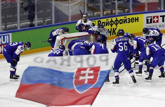 Slovenští hokejisté před duelem s Francií.