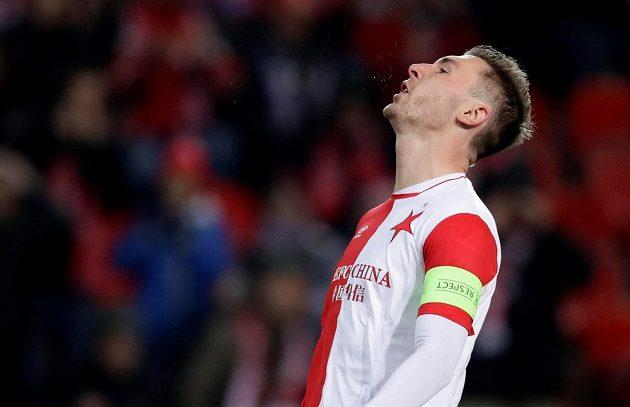 Slávista Jaromír Zmrhal poté, co ve druhé půli utkání s Astanou promarnil šanci na vyrovnání.