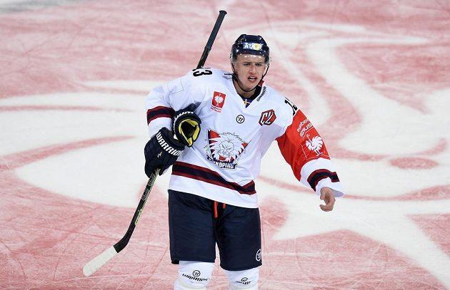 Jakub Vrána v dresu Linköpingu při osmifinále LM se Spartou.
