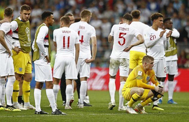Zklamání fotbalistů Anglie bylo po porážce v semifinále MS obrovské...