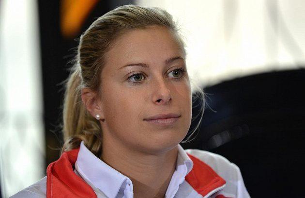 Andrea Hlaváčková během losování finále Fed Cupu.