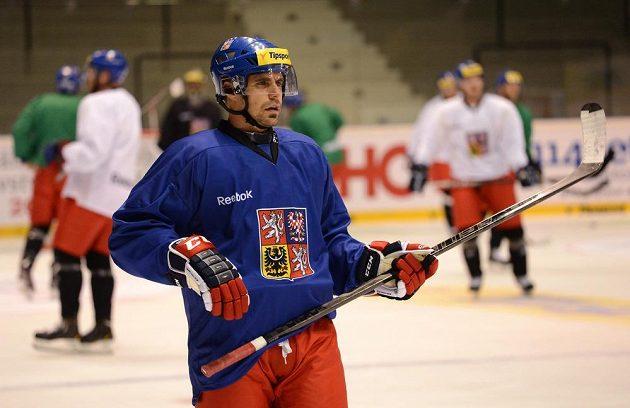 Útočník Tomáš Rolinek během tréninku hokejové reprezentace Českými hokejovými hrami.