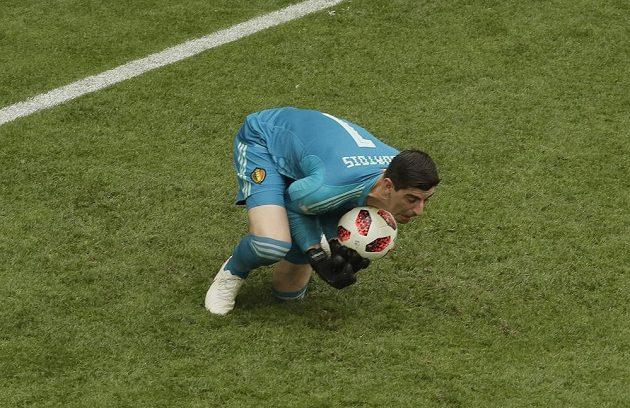 Belgivký gólman Thibaut Courtois v akci.